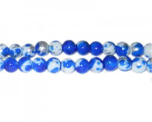 8mm Royal Blue SilverLeaf-Style Glass Bead, approx. 54 beads