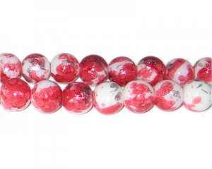 12mm Red SilverLeaf-Style Glass Bead, approx. 17 beads