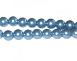 10mm Powder Blue Glass Pearl Bead, approx. 22 beads