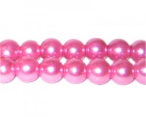 10mm Pink Glass Pearl Bead, approx. 22 beads