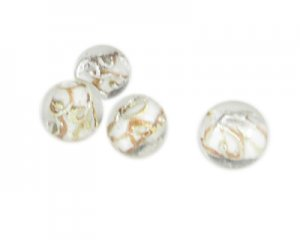 16mm White/Gold Foil Lampwork Glass Bead, 4 beads