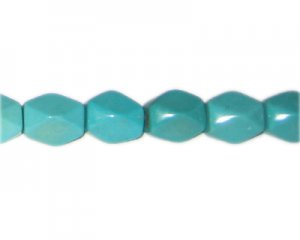 "14 x 12mm Turquoise Faceted Bead, 7"" string"