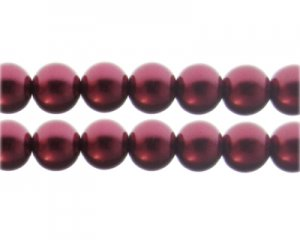12mm Blood Red Glass Pearl Bead, approx. 18 beads