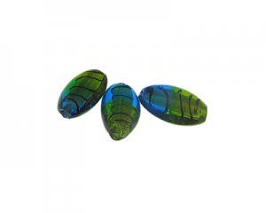 26 x 16mm Turquoise/Apple Green Lampwork Glass Bead, 3 beads