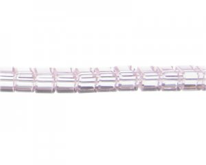 "8mm Pink Faceted Cube Glass Bead, 13"" string"