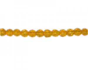 "8mm Yellow Faceted Glass Bead, 13"" string"
