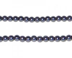 4mm Round Charcoal Glass Pearl Bead, approx. 113 beads