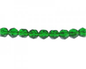 "10mm Dark Green Faceted Glass Bead, 13"" string"