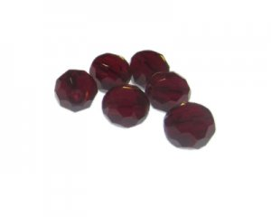 14mm Red Faceted Glass Bead, 6 beads