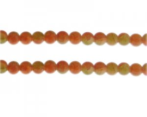 8mm Carnelian/Citrine Duo-Style Glass Bead, approx. 35 beads