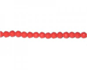 "6mm Strawberry Red Faceted Round Opaque Glass Bead, 12"" string"