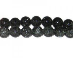 12mm Charcoal Crackle Glass Bead, approx. 18 beads