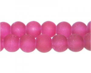 10mm Fuchsia Sea/Beach-Style Glass Bead, approx. 22 beads
