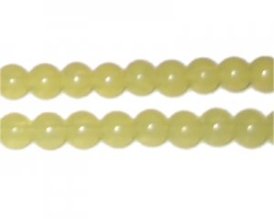 8mm Mellow Yellow Jade-Style Glass Bead, approx. 21 beads