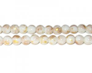 8mm Champagne GoldLeaf-Style Glass Bead, approx. 54 beads