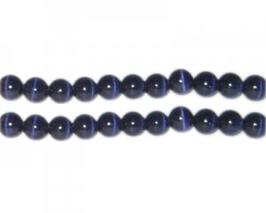 8mm Midnight Blue Round Cat's Eye Beads, approx. 15 beads