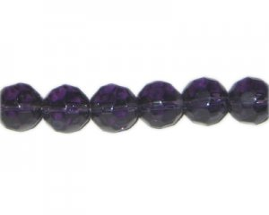"14mm Purple Faceted Round Glass Bead, 13"" string"