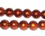 12mm Drizzled Bronze Glass Bead, approx. 18 beads