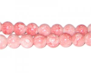 10mm Rose Quartz-Style Glass Bead, approx. 21 beads