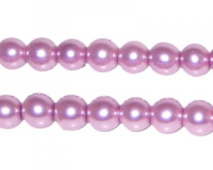 8mm Round Violet Glass Pearl Bead, approx. 56 beads