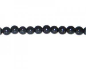 "8mm Gunmetal Lampwork Bead, 14"" string"