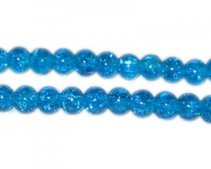 8mm Dark Turquoise Crackle Glass Bead, approx. 55 beads