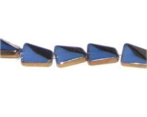 14 x 10mm Blue Opaque Vintage-Style Twisted Glass Bead, approx.