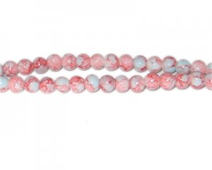 6mm Red/Gray Marble-Style Glass Bead, approx. 73 beads