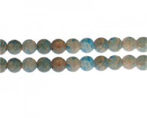 10mm Burnt Orange/Blue Duo-Style Glass Bead, approx. 16 beads