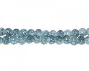 6mm Snowflake Jasper-Style Glass Bead, approx. 72 beads