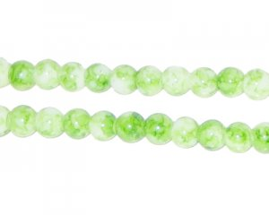 6mm Light Green Swirl Marble-Style Glass Bead, approx. 48 beads