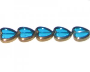 14mm Turquoise Vintage-Style Heart Glass Bead, approx. 6 beads