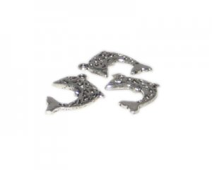 28 x 22mm Silver Dolphin Metal Charm, 3 charms