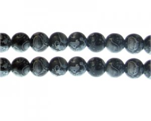10mm Black Swirl Marble-Style Glass Bead, approx. 16 beads