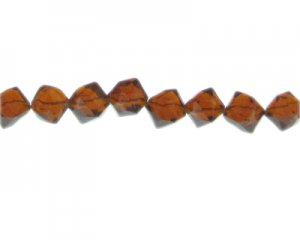 "10mm Brown Twisted Cube Pressed Glass Bead, 13"" string"