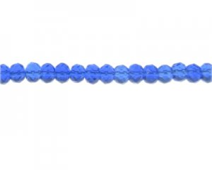 "6 x 8mm Blue Faceted Rondelle Glass Bead, 13"" string"