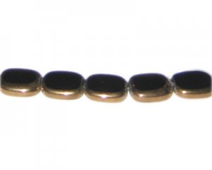 14 x 12mm Black Vintage-Style Glass Bead, approx. 6 beads