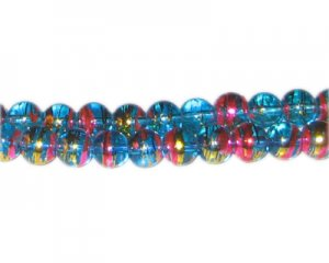 8mm Turquoise Twirl Abstract Glass Bead, approx. 54 beads