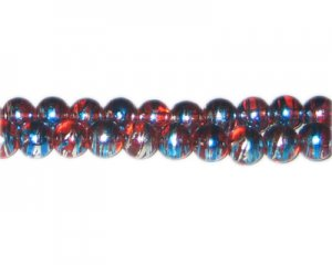 8mm Red USA Abstract Glass Bead, approx. 37 beads