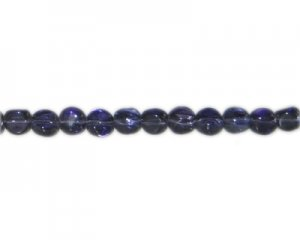"10mm Purple Pressed Glass Pebble Bead, 14"" string"