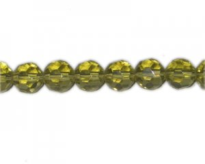 "10mm Olive Faceted Glass Bead, 13"" string"