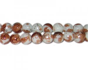 10mm Bronze SilverLeaf-Style Glass Bead, approx. 21 beads