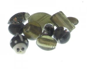 Approx. 1.5oz. Black/Silver/Gray Glass Lampwork Bead Mix