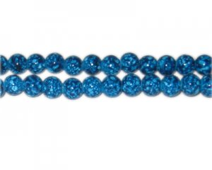 8mm Turquoise Spot Marble-Style Glass Bead, approx. 53 beads