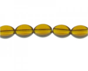 "16 x 12mm Golden Brown Oval Pressed Glass Bead, 13"" string"