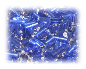 7 x 2mm Blue Silver-Lined Bugle Bead, 1 oz. bag