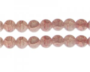 12mm Rhodonite Duo-Style Glass Bead, approx. 14 beads
