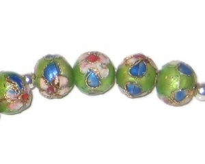 10mm Apple Green Round Cloisonne Bead, 6 beads