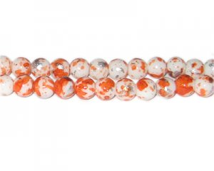 8mm Orange SilverLeaf-Style Glass Bead, approx. 54 beads
