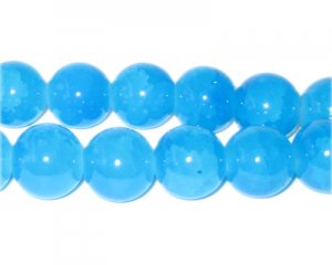 12mm Blue Agate-Style Glass Bead, approx. 18 beads